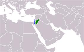 Map indicating locations of Israel and Jordan