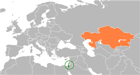 Map indicating locations of Israel and Kazakhstan