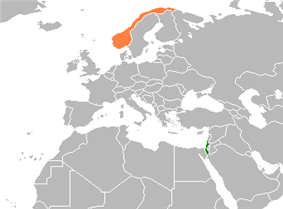 Map indicating locations of Israel and Norway
