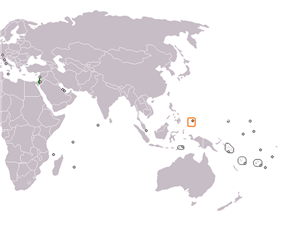 Map indicating locations of Israel and Palau