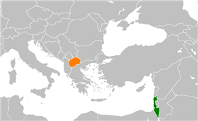 Map indicating locations of Israel and Republic of Macedonia