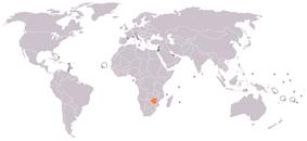 Map indicating locations of Israel and Zimbabwe