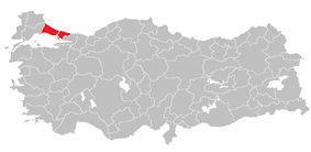 Location of Istanbul Region