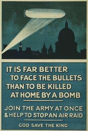 Poster: picture of Zeppelin illuminated by searchlight over silhouetted London skyline; headline: