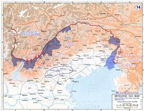 a map showing the front lines in northeastern corner of Italy