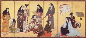 Nine women and a girl dressed in kimonos. One woman is reading a sheet of paper, another is playing a shamisen. One woman is doing the hair of another woman.