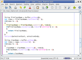 jEdit 4.3 showing Java macro
