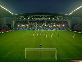 View of an evening match at Wigan Athletic's DW Stadium