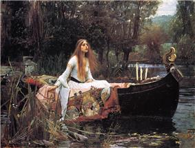 A painting of a red haired woman, sitting in a boat, surrounded by trees.