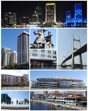 Top, left to right: Downtown Jacksonville, Southbank, statue of Andrew Jackson, EverBank Field, Florida Theatre, Veterans Memorial Arena
