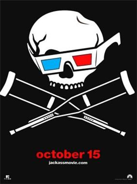 The Jackass skull and crossbones (crutches) wearing yellow and green 3D glasses
