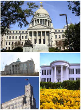 Images top, left to right: Mississippi State Capitol, Old Mississippi State Capitol, Lamar Life Building, Mississippi Governor's Mansion