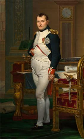 Full length portrait of a man in his forties, in high-ranking dress white and dark blue military uniform. He stands amid rich 18th-century furniture laden with papers, and gazes at the viewer. His hair is Brutus style, cropped close but with a short fringe in front, and his right hand is tucked in his waistcoat.