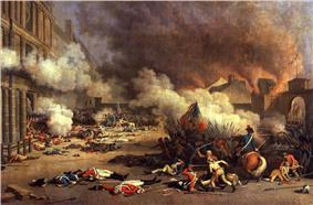 Smoke is billowing throughout the top two-thirds of the picture, dead guards are scattered in the foreground, and a battle, with hand-to-hand combat and one horse is taking place in the bottom right.