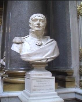Bust of a clean-shaven square-faced man in a coat with epaulettes on the shoulders.