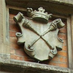 Relief of the coat of arms of the Jagiellonian University, two scepters in saltire