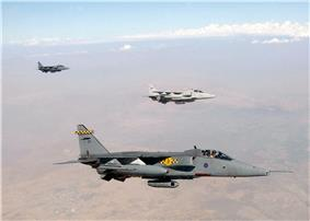 Three British RAF Jaguars on a Northern Watch mission in September 2002.