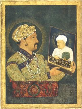 painting of Jahangir (Salim) holding a painting of Akbar