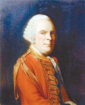 Half-length portrait of a man against a dark background. He is wearing a red military jacket with a gold tassel on the right shoulder. His body is facing three-quarters right, but he is looking straight ahead.