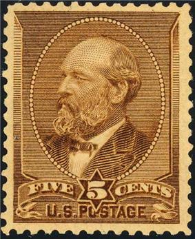 a brown postage stamp has a portrait of Garfield in an oval within a shield. A banner below reads
