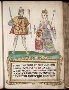 A picture on a page in an old book. A man at left wears tights and a tunic with a lion rampant design and holds a sword and scepter. A woman at right wears a dress with an heraldic design bordered with ermine and carries a thistle in one hand and a scepter in the other. They stand on a green surface over a legend in Scots that begins