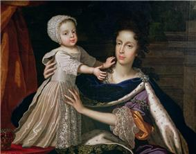 An informal portrait of Mary with her infant son. She is seated, wearing a regal velvet cloak edged with ermine. The boy, aged about one year, stands on a table and is held by his mother. He wears a cream satin dress with lace bonnet, sleeves and apron.