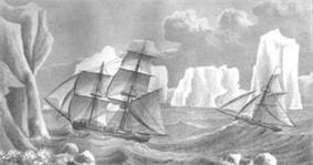 Stylised drawing of two sailing ships caught in rough seas, surrounded by towereing icebergs.