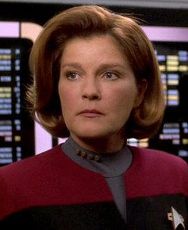 Mulgrew as Captain Kathryn Janeway on Star Trek: Voyager.