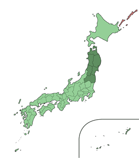 Map showing the Tōhoku region of Japan. It comprises the northeast area of the island of Honshu.