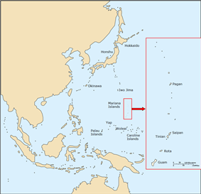 A map of Eastern Asia and the Western Pacific with the locations mentioned in this article marked