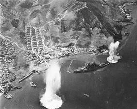 Japanese battleship Haruna under attack on 28 July