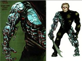 Two drawings show the artist's conception of Über-Jason. On the right, a man with a high-tech metallic right arm and left leg holds a machete. On the left, a detailed drawing of the right arm.