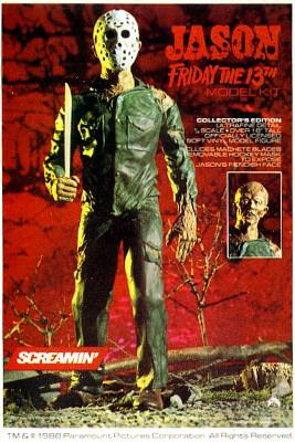 Packaging for the Jason Friday the 13th model kit has a picture of the toy, dressed in leather and goalie mask, and holding a machete.