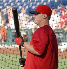 Jay Bruce taking batting practice.