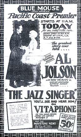 Advertisement from the Blue Mouse Theater announcing the Pacific Coast premiere of The Jazz Singer, billed as