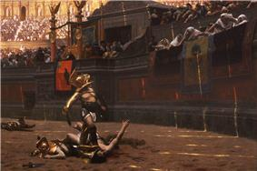 Several dead men and various scattered weapons are located in a large arena. Near the center of the image is a man wearing armor standing in the middle of an arena looking up at a large crowd. The man has his right foot on the throat of an injured man who is reaching towards the crowd. Members of the crowd are indicating a