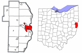 Location of Steubenville in Jefferson County and state of Ohio.