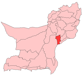 Map of Balochistan with Jhal Magsi District highlighted