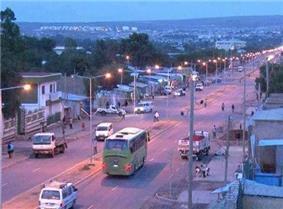 Main street in Jijiga's Laanta Hawada neighborhood.