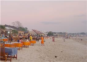 Seafood restaurants on the beach near Jimbaran