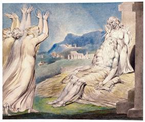 Job's Comforters by William Blake; The Wrath of Elihu, by William Blake