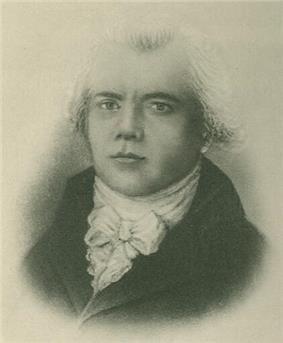 Black and white bust painting of a young man with neckerchief in a coat. The hair is only faintly painted and looks grey.