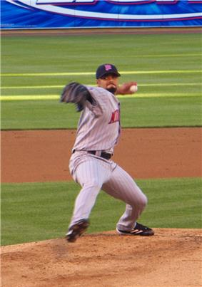 Johan Santana delivers a pitch for the Minnesota Twins.