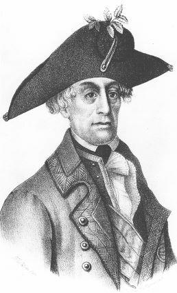 Print shows a man with large, deep-set eyes in 18th Century dress. He wears an enormous bicorne hat.