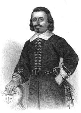 A three-quarter length engraved portrait of Leverett in full military uniform. His right hand rests on a knight's helmet, and his left is on his hip, holding gloves.