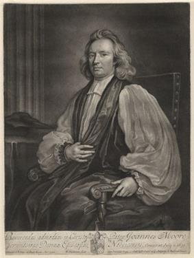 Mezzotint portrait of a seated man in flowing vestments and long wavy hair. He is about 50 years old and with receding hairline and a calm expression on his roundish face. His left hand holds the armrest of his chair, and his right holds a fold of one of his robes on his chest.
