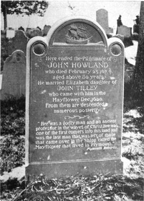 Photo of a maker for John Howland on Burial Hill, Plymouth, Massachusetts