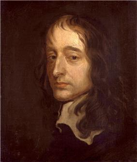 A portrait of John Selden. Selden blends into the brown background of the portrait; his face is visible. He has brown eyes and shoulder-length brown hair. He has a serious look on his face