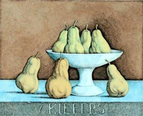 color etching depicting seven yellowpears and a footed dish
