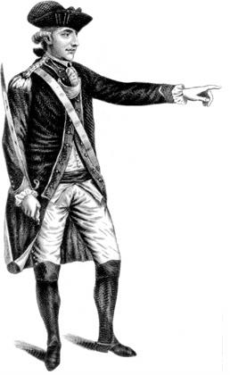 A black and white full length portrait of André. He wears a uniform, dark jacket over white pants and shirt, with dark boots, and a three-cornered hat. His right hand holds a sword upright by his side, and his left arm is extending, pointing forward.